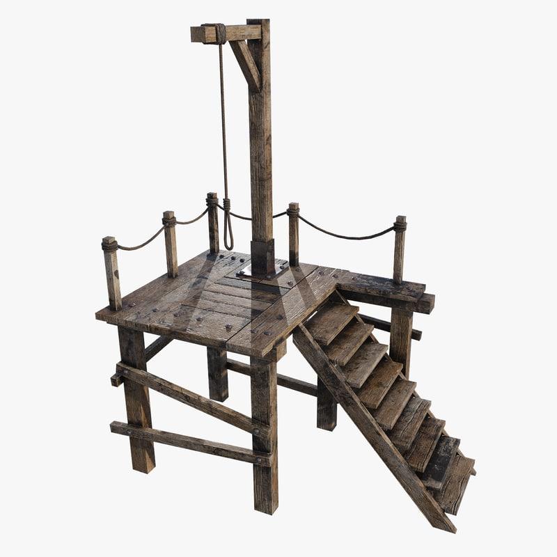 medieval gallows pbr 3D model
