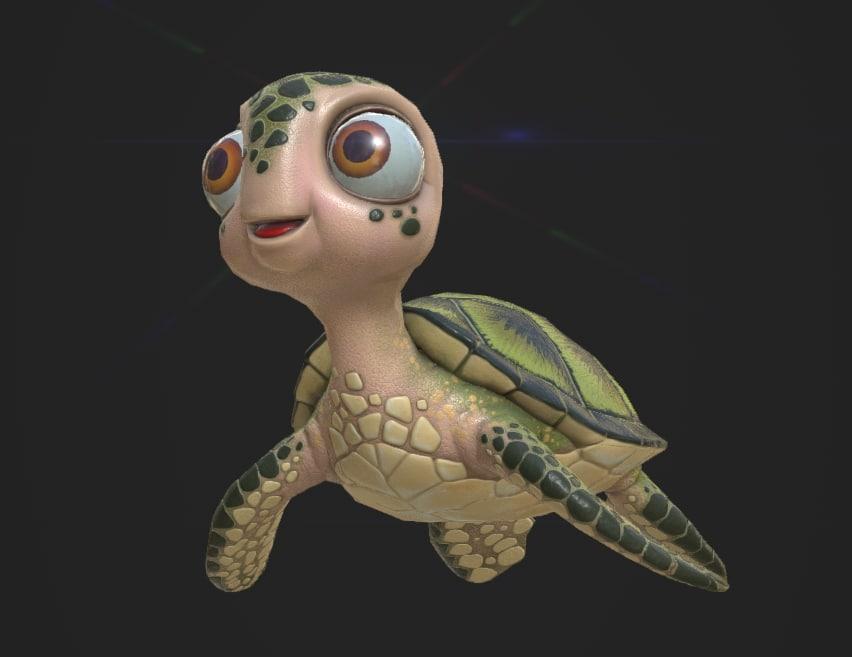 3D turtle cartoon model