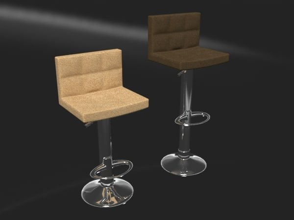 3D adjustable leather bar stool