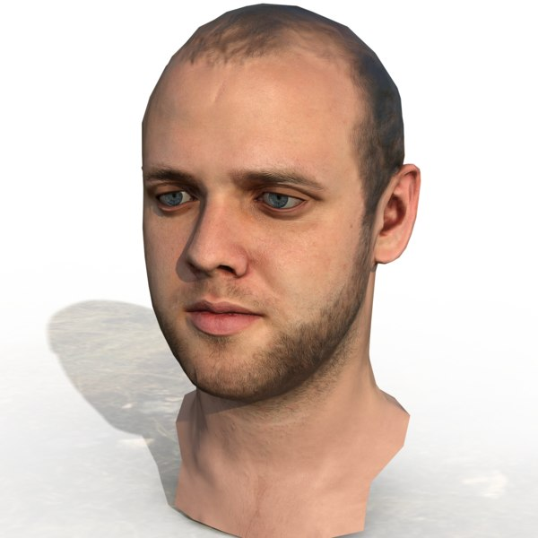 3D model rigged ready head -
