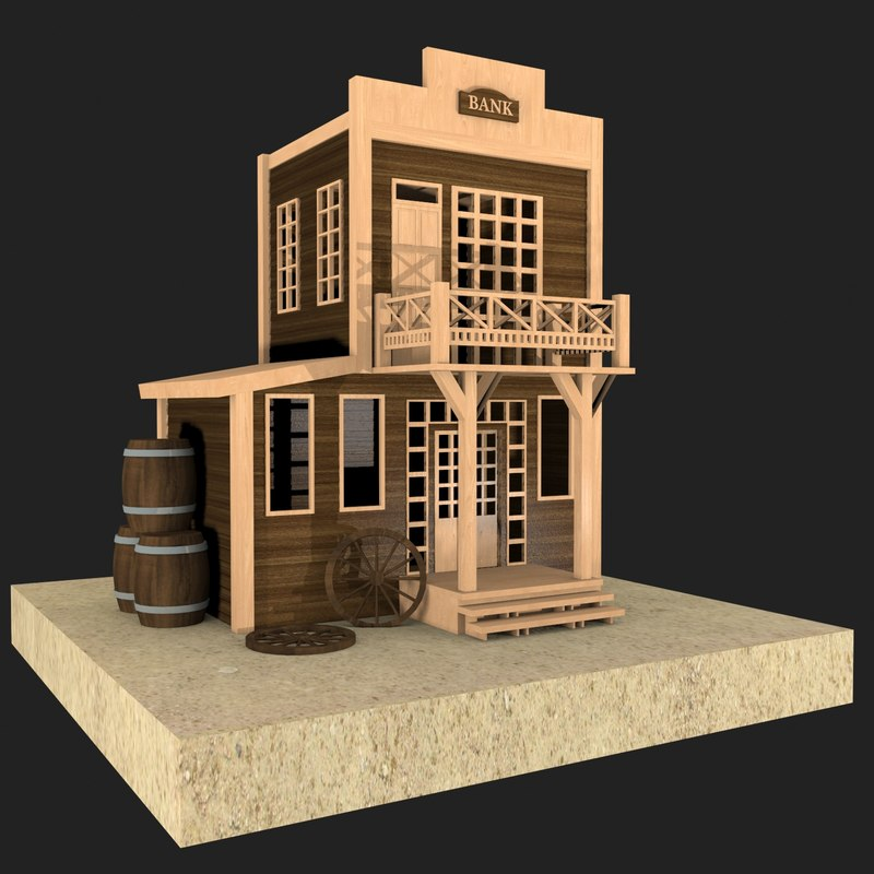 3D western building hotel