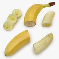 3D banana cut 01 model
