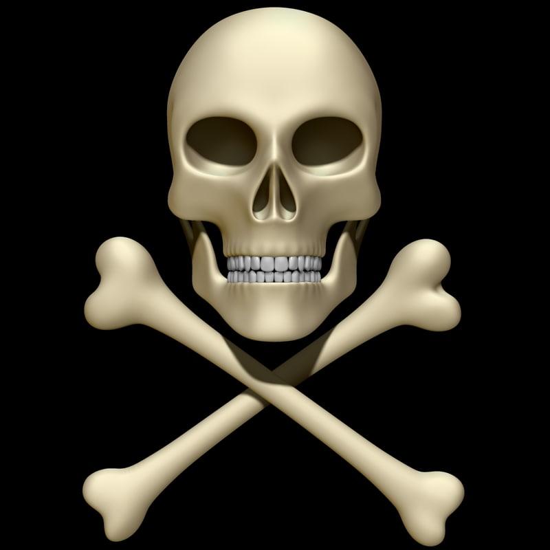 3D model skull bones cross