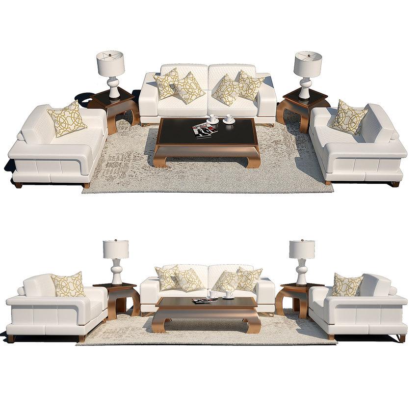 Aico Michael Amini Leather Sofa 3D