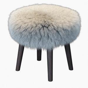 3D fur mongolian lamb stool model