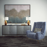 Decorative set. Chest of drawers, armchair picture