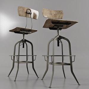 3D antique toledo chair