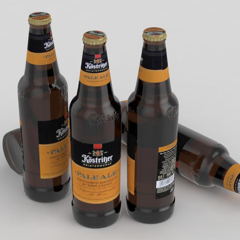 3D beer bottle ale