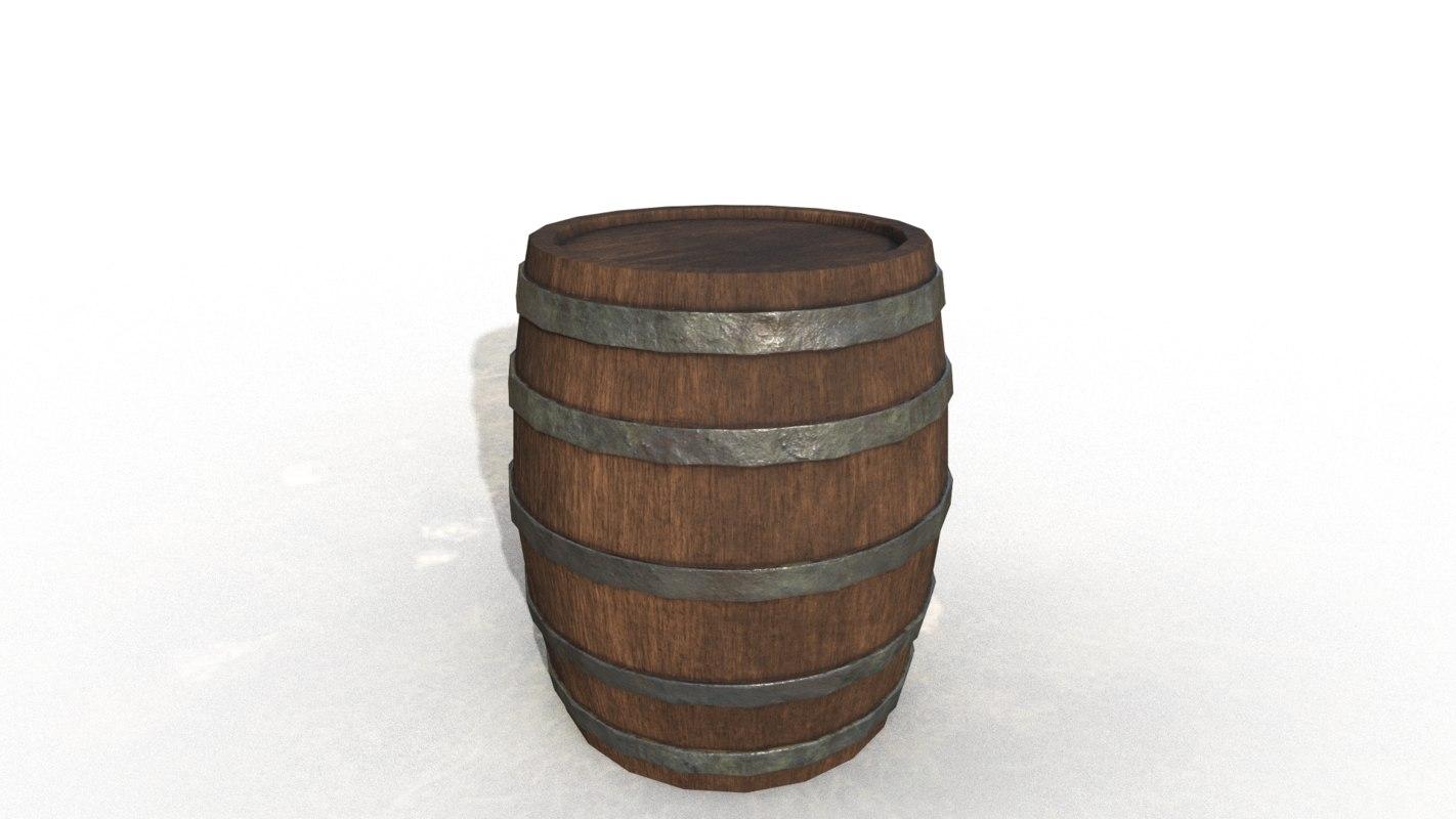 barrel wooden metal 3D