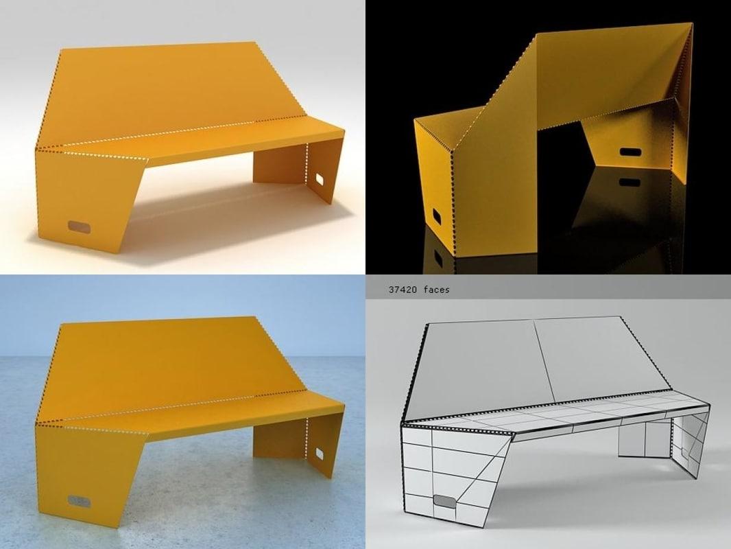 3D model bent settee