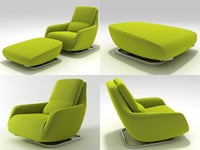 shaman large armchair footstool 3D model
