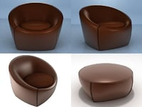 capri chair footstools 3D