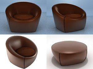capri chair footstools 3D