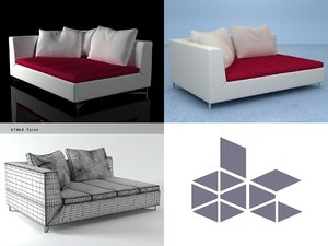 3D model feng chaise right