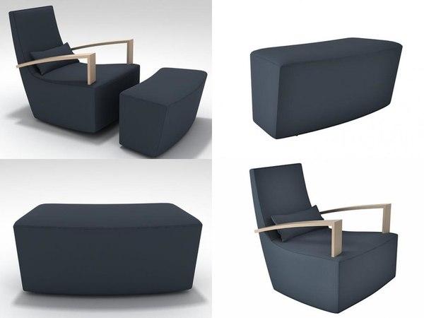 3D neo armchair footstool model