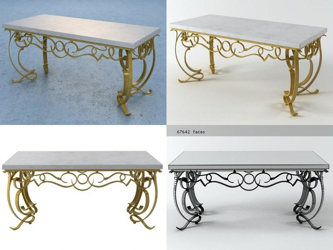 gilt iron cocktail table 3D