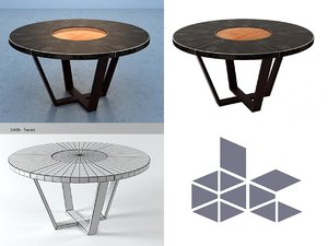 3D model leather table lazy susan