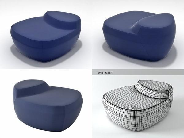 saruyama island armchair 3D