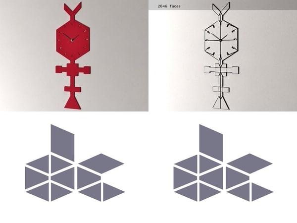 codice clock coral red 3D
