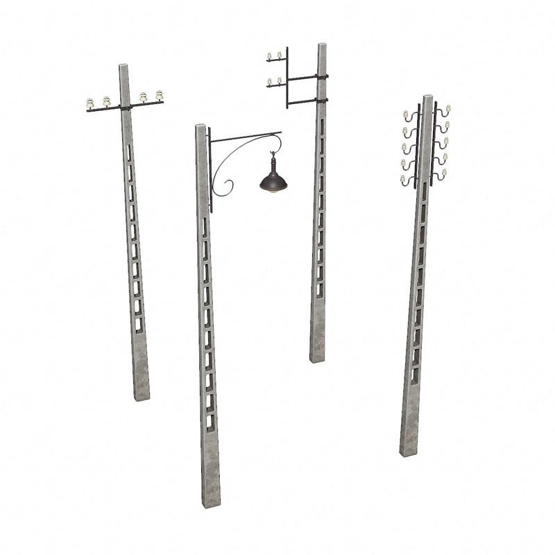 concrete telegraph poles 3D model
