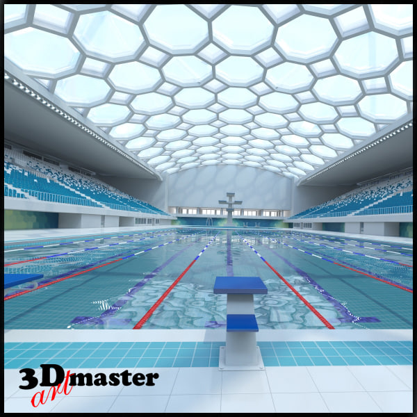 Olympic Swimming Pool In Person: Indoor Olympic Swimming Pool 3D Model