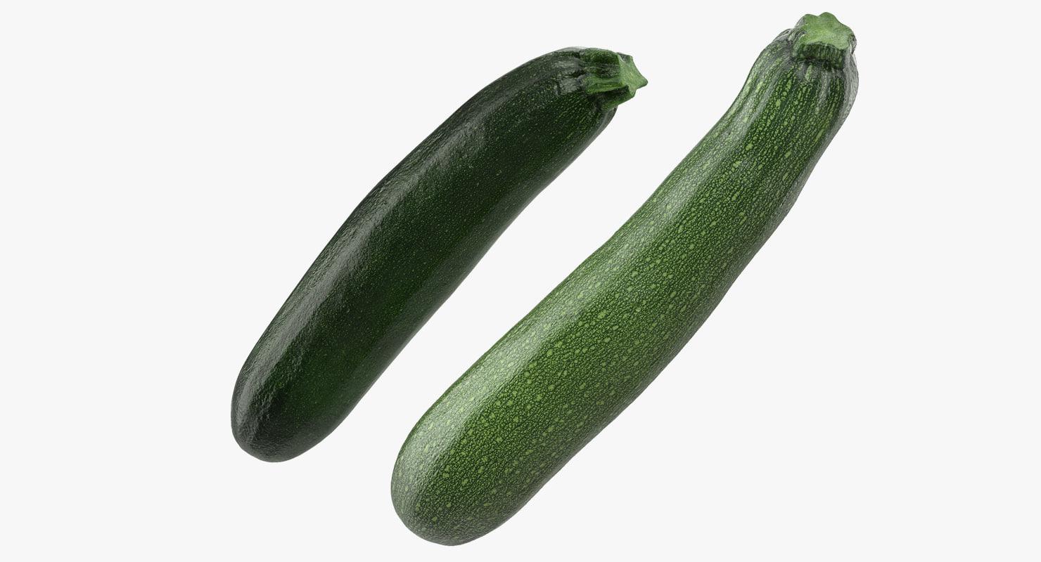 3D zucchini vegetable