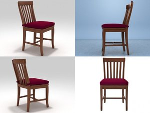 schoolhouse wood chair 3D model