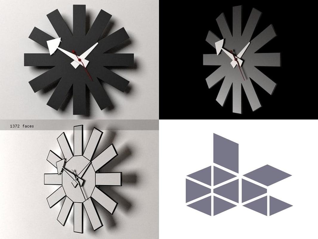 3D asterisk clock