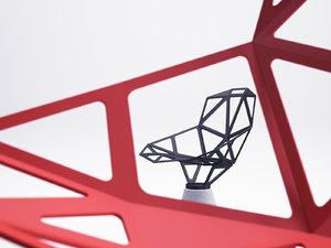 3D chair concrete base model