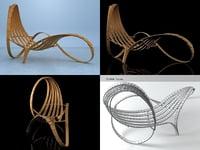 chaise longue 4 3D model