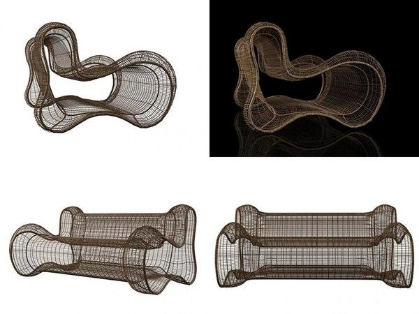 3D model pigalle loveseat