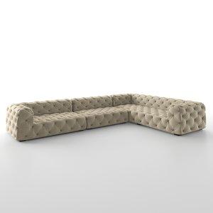 soho tufted upholstered 3D