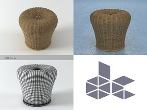 rattan stool e15 3D model