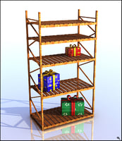shelving wood 3D model