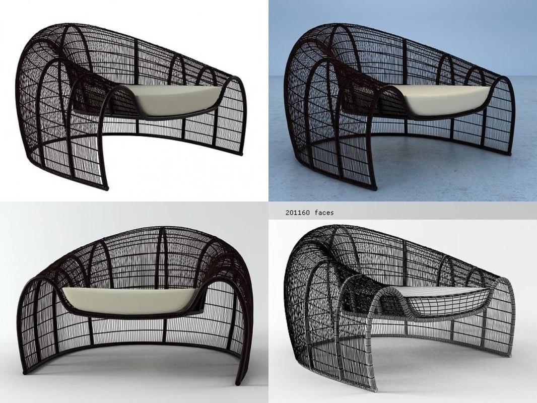 3D croissant armchair