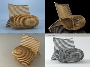 3D wooden chair mn30 model