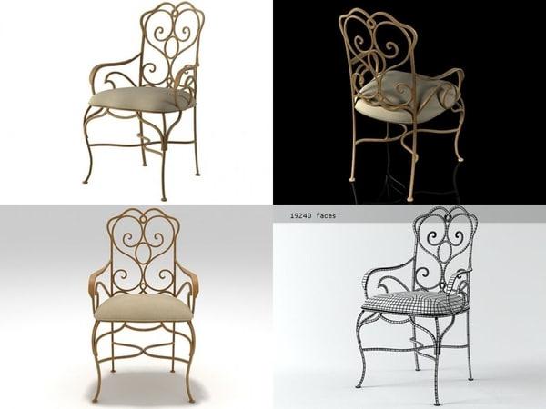 3D heart iron armchair model