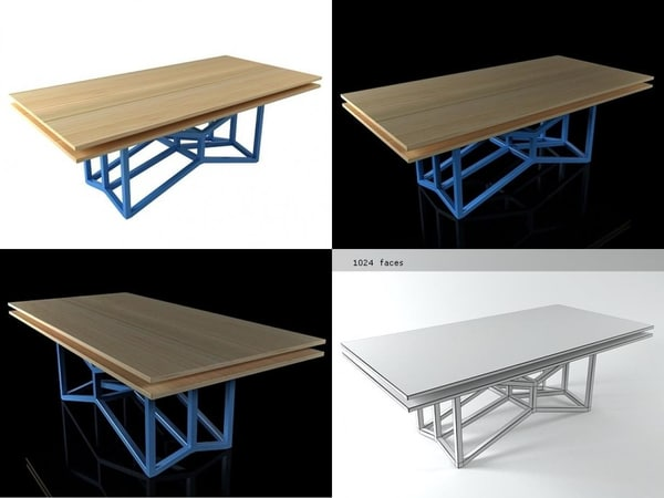 double bamboo table 3D