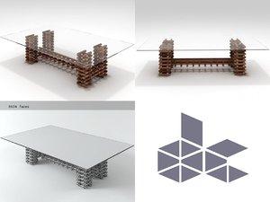 retaso rectangular coffee table 3D