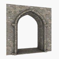 3D model medieval castle arch 01