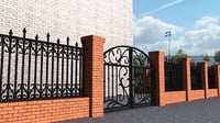 bricks iron fence 3D