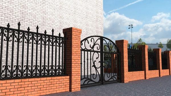 bricks iron fence 3D