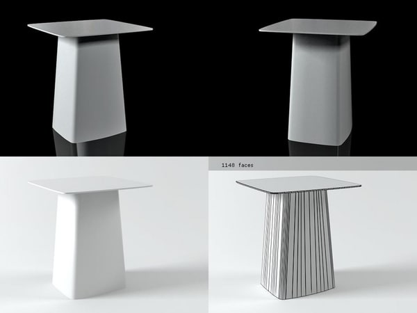 3D metal table medium model