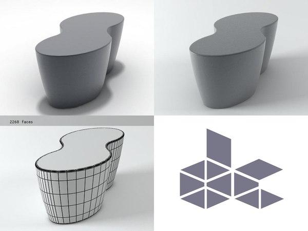 palette table stool 3D model