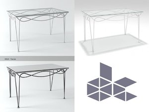 3D iron dining table n