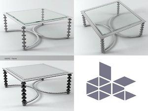 3D model chrome glass coffee table