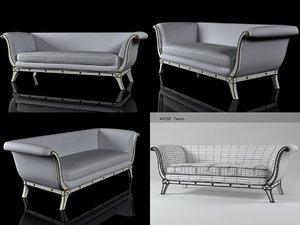 3D swedish neoclassical sofa n
