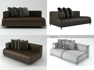 opium right arm loveseat 3D model