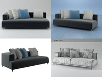 opium right arm sofa 3D