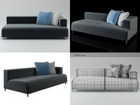 3D opium left arm sofa model